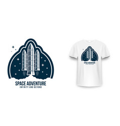 space badge with spaceship rocket launch vintage vector image
