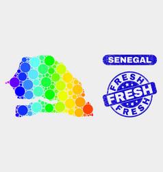 Spectrum mosaic senegal map and distress fresh vector