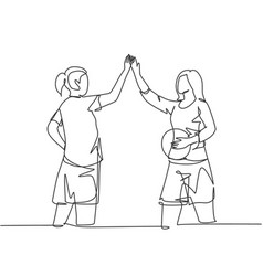 Sport game concept one line drawing young vector