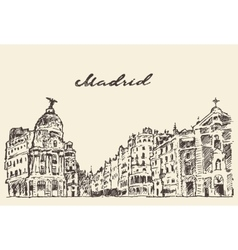 Streets Madrid Spain hand drawn vector