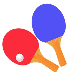 Table tennis rackets and ball on a white vector image