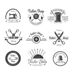 Tailor shop salon icons button sewing vector