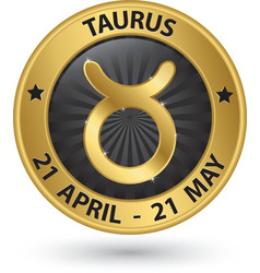 Taurus zodiac gold sign taurus symbol vector image
