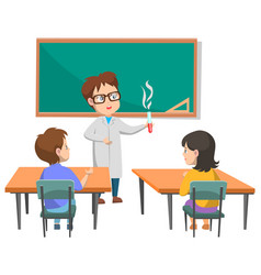 Teacher doing experiment on chemistry lesson vector