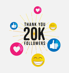 Thank you 20k followers media social banner vector