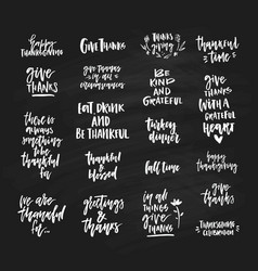 thanksgiving lettering collection vector image