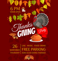 thanksgiving party flyer celebration invite vector image