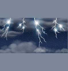 Thunderstorm on raining sky vector