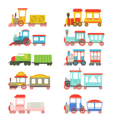 toy trains set colorful locomotives and wagons vector image