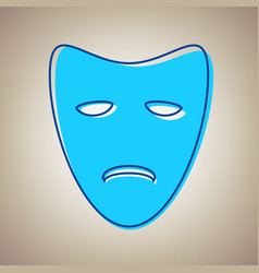 Tragedy theatrical masks sky blue icon vector