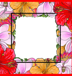 tropical flowers square frame in sketch style vector image