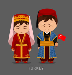Turks in national dress with a flag vector