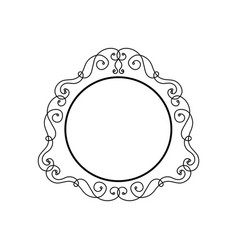 Vintage calligraphic frame - round decorative vector