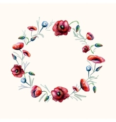 Watercolor red poppies wreath vector image
