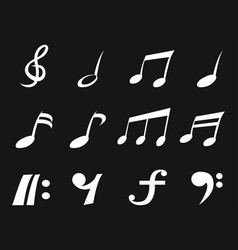 white freehead music note icons vector image