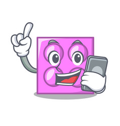 With phone toy brick character cartoon vector