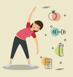 Woman practicing exercice with sports icons vector
