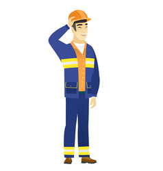 young asian builder laughing vector image