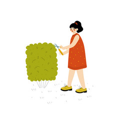 young woman shearing hedge girl working in garden vector image