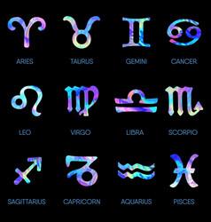Zodiac icons horoscope set on black background vector