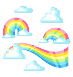 collection of fantasy rainbow and clouds in sky vector image