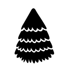 Cute black icon christmas tree vector