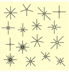line sparkling symbols black color vector image vector image