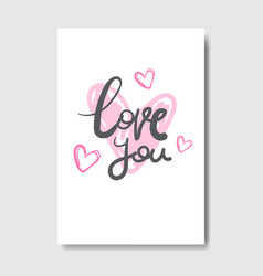 love you greeting card with creative lettering vector image vector image
