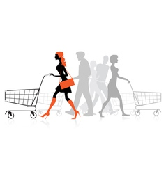 People withs Shopping charts vector image vector image