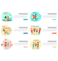 set of friends conceptual web banners vector image vector image