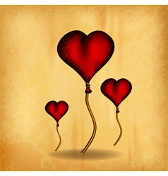 three hearts on the old paper vector image
