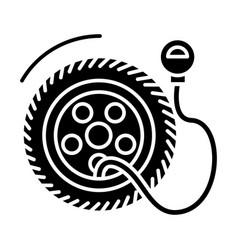 tire service with pump - tire pressure icon vector image