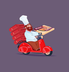 chef cook riding red motor bike fast pizza vector image