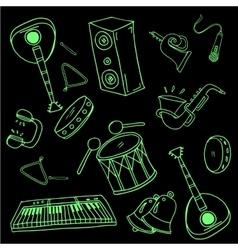 Doodle of music set black green vector image