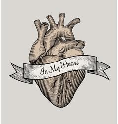 Engraving heart vector image