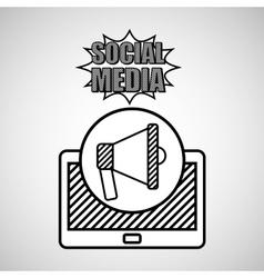 hand drawing megaphone social media mobile vector image vector image