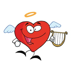 Heart Angel Flying with Lyre vector image