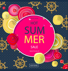 Summer sale main label with percent stickers vector