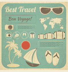 Summer Travel Card in retro Style vector image vector image