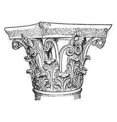 corinthian capital column vintage engraving vector image vector image