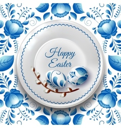 Easter Plate with Russian folk painting and vector image
