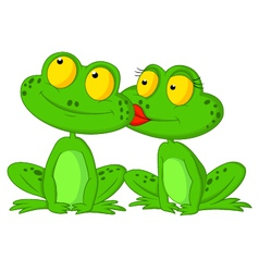 Frog cartoon kissing vector image