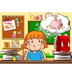 Little girl sitting in the classroom vector image