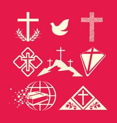 a big set of christian symbols vector image