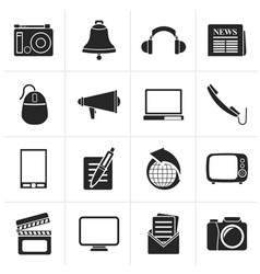 Black Communication and media icons vector image