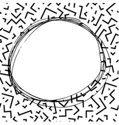 hand drawn round frame in memphis style fashion vector image