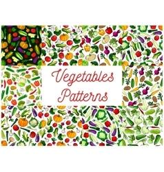 Vegetables patterns set Vegetarian background vector image