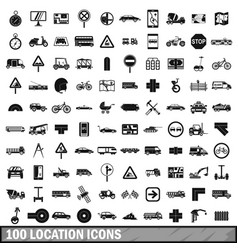 100 location icons set simple style vector image