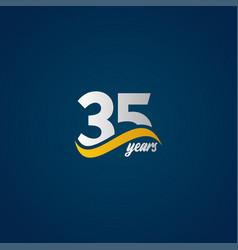 35 years anniversary celebration elegant white vector