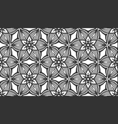 abstract black floral flower seamless pattern tile vector image